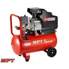 Компрессор MPT PROFI  24 л, 1500 Вт/2 л.с., 2850 об/мин, 100 л/мин, 8 атм, 2 выхода, медная обмотка