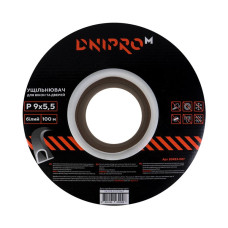 Уплотнитель самоклеющийся DNIPRO-M P-тип, 9*5,5мм, белый, 100м